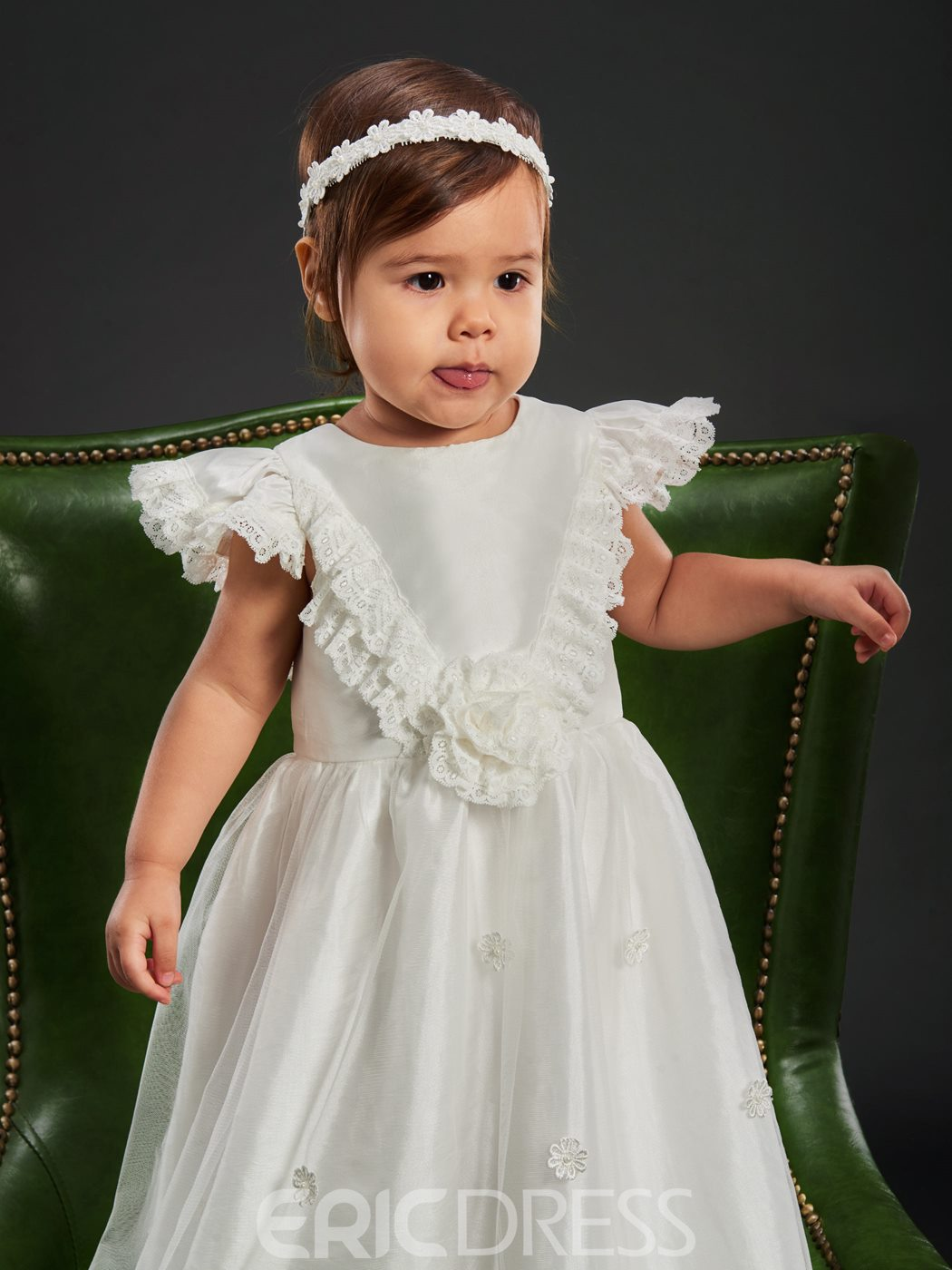 Ericdress Simple Chiffon Cap Sleeves Christening Gown for Baby Girl
