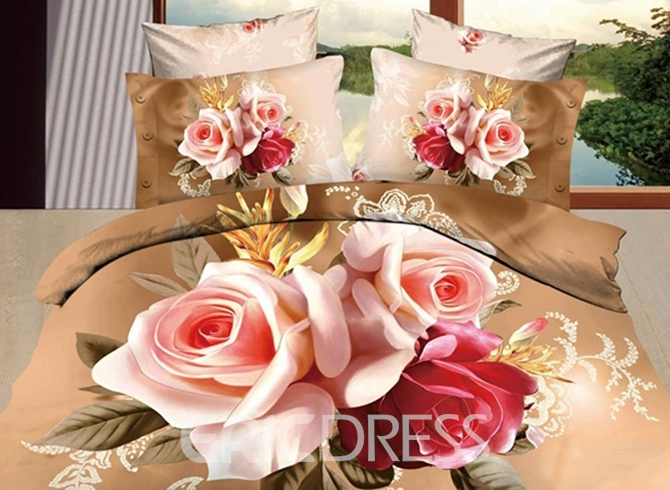 Vivilinen 3D Red and Pink Roses Printed Cotton 4-Piece Bedding Sets/Duvet Covers