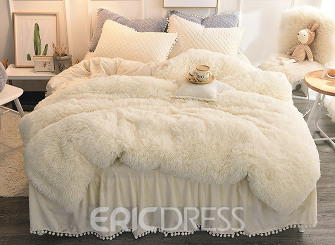 Vivilinen Solid White Simple Style Quilting Bed Skirt 4-Piece Fluffy Bedding Sets/Duvet Cover