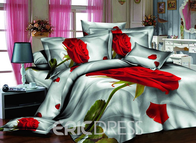 Vivilinen 3D Single Red Rose Printed Cotton 4-Piece Bedding Sets/Duvet Covers