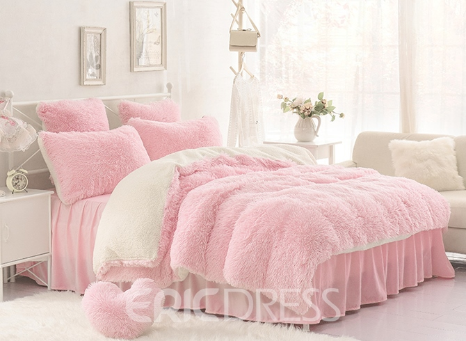 Vivilinen Solid Pink and Creamy White Color Blocking Fluffy 4-Piece Bedding Sets/Duvet Cover