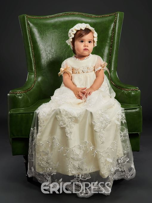 Ericdress Baby Girl Lace Bowknot Bonnet Christening Gown with Sleeves