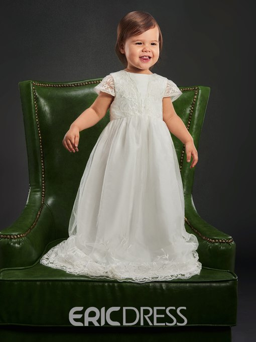 Ericdress Lace Scoop Cap Sleeves Christening Dress for Girl