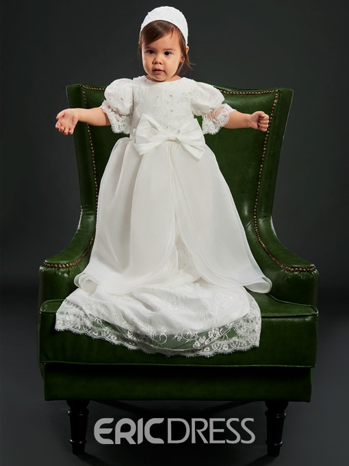 Ericdress Luxury Lace Tulle Infant Baby Girl's Christening Gown with Headpiece