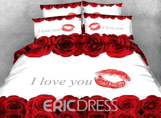 Vivilinen 3D Red Roses and Lip Printed Love You Cotton 4-Piece White Bedding Sets