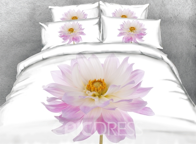 Vivilinen 3D Pink Aster Flower Printed Cotton 4-Piece Bedding Sets/Duvet Covers