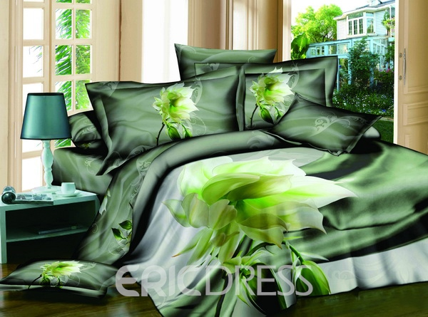 Vivilinen 3D Green Lotus Printed Cotton 4-Piece Bedding Sets/Duvet Covers