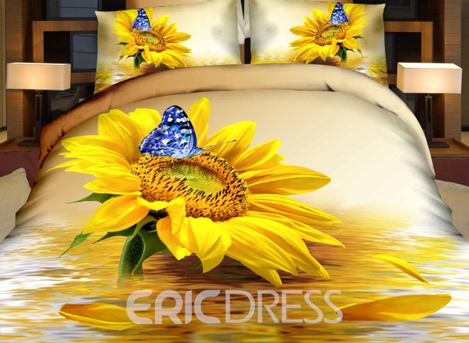 Vivilinen 3D Sunflower and Blue Butterfly Printed Cotton 4-Piece Bedding Sets