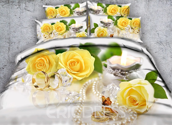 Vivilinen 3D Yellow Roses and Butterfly Printed Cotton 4-Piece Bedding Sets/Duvet Covers