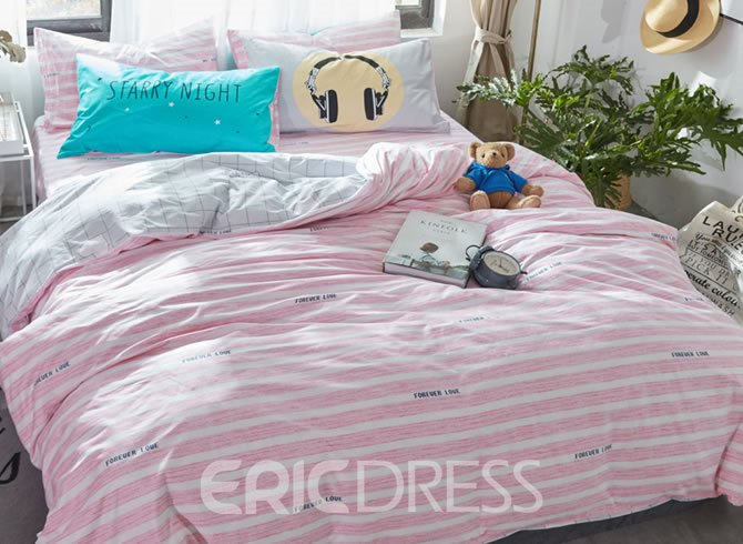 Vivilinen Stripes Printed Cotton Pink and White Kids Duvet Covers/Bedding Sets