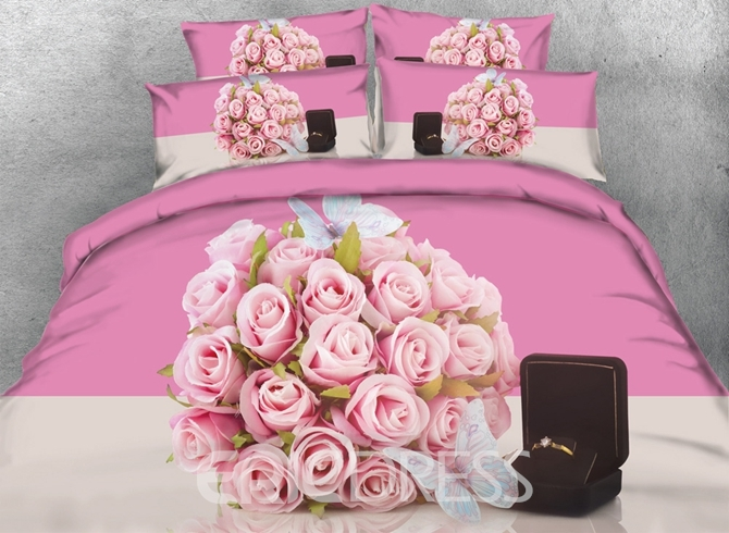 Vivilinen 3D Pink Roses and Ring Printed Cotton 4-Piece Bedding Sets/Duvet Covers