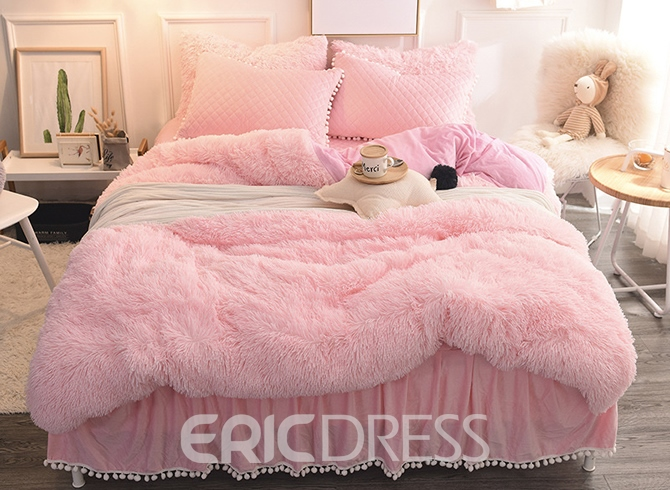 Super Vivilinen Princess Style Solid Pink with Quilting Bed Skirts Thick  CZ26