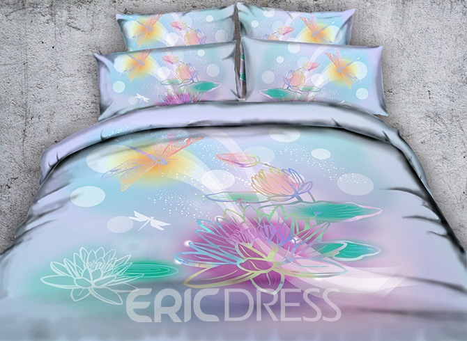 Vivilinen 3D Watercolor Lotus and Dragonfly Printed Cotton 4-Piece Bedding Sets/Duvet Covers