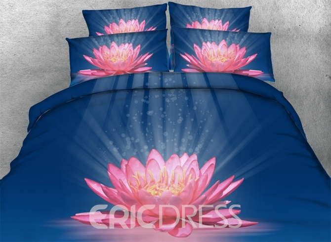 Vivilinen 3D Blooming Pink Lotus Printed Cotton 4-Piece Blue Bedding Sets/Duvet Covers