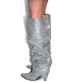 ericdress best-seller strass bout pointu genou hautes bottes