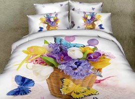 Vivilinen 3D Various Flowers in Basket and Butterflies Printed Cotton 4-Piece White Bedding Sets