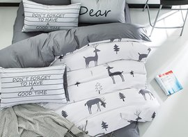Vivilinen Nordic Style Deer Printed Cotton White Kids Duvet Covers/Bedding Sets