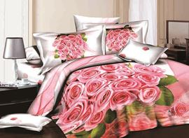 Vivilinen 3D Cluster of Pink Roses and Green Leaves Printed Cotton 4-Piece Bedding Sets