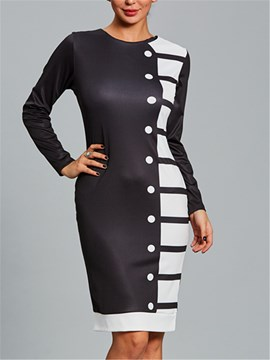Ericdress Scoop Color Block Long Sleeve Bodycon Dress