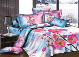 Vivilinen 3D Rosy Peach Blossom and Bud Printed Cotton 4-Piece Bedding Sets/Duvet Covers