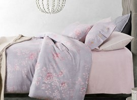 Vivilinen Dreamy Pink Peony Light Purple 4-Piece Cotton Duvet Cover Sets