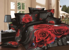 Vivilinen 3D Red Rose Printed Cotton 4-Piece Black Bedding Sets/Duvet Covers