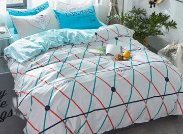 Vivilinen Grid Printed Cotton Simple Style White Kids Duvet Covers/Bedding Sets
