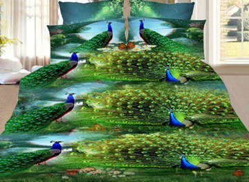 Vivilinen Peacock Showing Its Tail Print 3D Bedding Sets