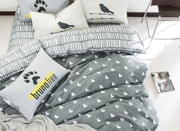 Vivilinen Nordic Style Heart Shape Printed Cotton Gray Kids Duvet Covers/Bedding Sets