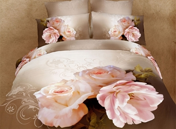 Vivilinen 3D Peony Printed Cotton 4-Piece Full Size Bedding Sets/Duvet Covers