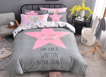 Vivilinen Pink Star Printed Cotton Gray Kids Duvet Covers/Bedding Sets