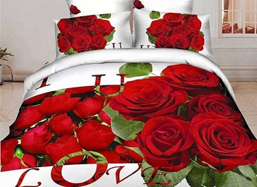Vivilinen 3D Red Rose and Love Letters Printed Cotton Full Size 4-Piece Bedding Sets