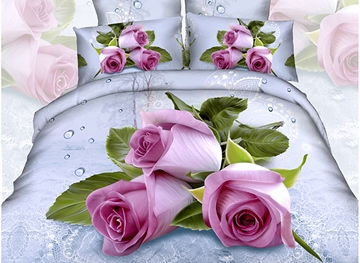 Vivilinen 3D Pink Roses with Water-Drop Printed Cotton 4-Piece Bedding Sets
