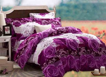Vivilinen 3D Purple Rose Printed Cotton 4-Piece Full Size Bedding Sets/Duvet Covers