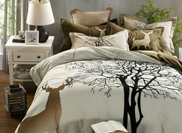 Vivilinen Magical Reindeer and Tree Print 4-Piece Cotton Duvet Cover Sets