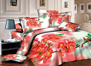 Vivilinen 3D Red Peach Blossom Printed Cotton 4-Piece Bedding Sets/Duvet Covers