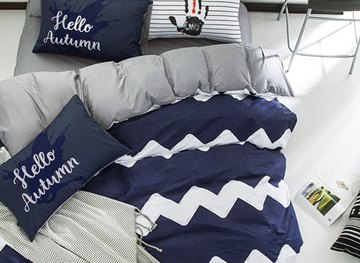 Vivilinen Nordic Style Wave Pattern Cotton Blue and White Kids Duvet Covers/Bedding Sets