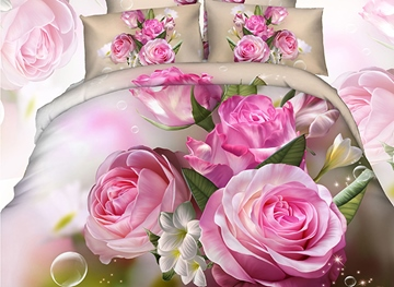 Vivilinen 3D Bunch of Pink Peonies Printed Cotton 4-Piece Bedding Sets
