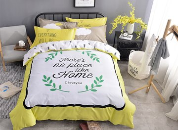 Vivilinen Letters and Green Leaves Printed Cotton Kids Duvet Covers/Bedding Sets