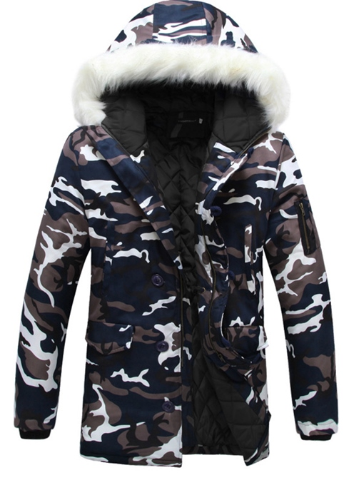 Ericdress Camouflage Print Faux Fur Collar Thicken Zipper Men's Winter Coat
