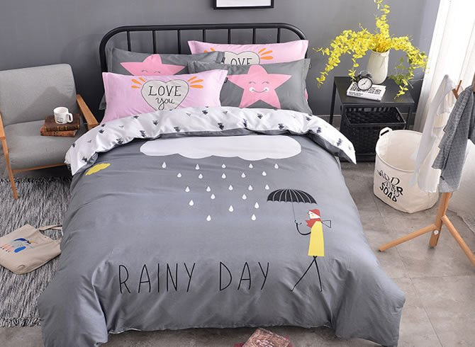 Vivilinen Clouds Printed Cotton Gray Kids Duvet Covers/Bedding Sets