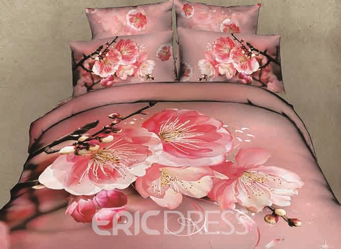 Vivilinen 3D Pink Peach Blossom and Bud Printed Cotton 4-Piece Bedding Sets/Duvet Covers 13114930