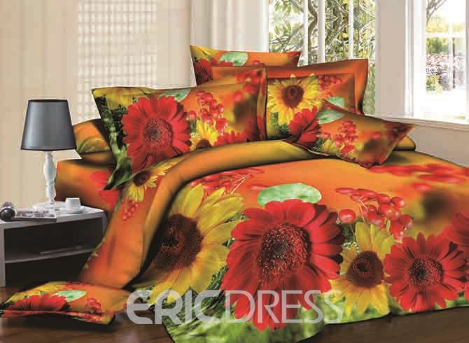 Vivilinen 3D Red and Yellow Asters Printed Cotton 4-Piece Bedding Sets/Duvet Covers