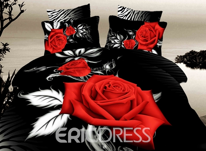 Vivilinen 3D Red Rose with White Leaves Printed Cotton 4-Piece Black Bedding Sets