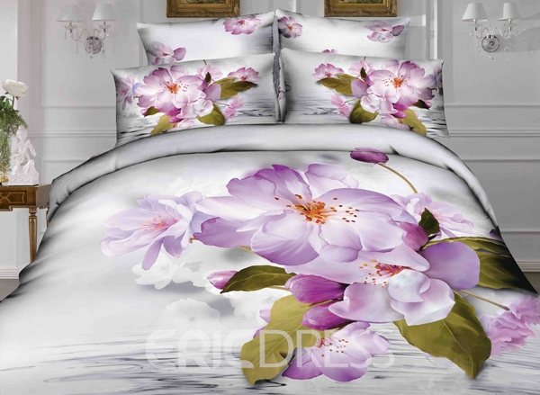 Vivilinen 3D Light Purple Crabapple Printed Cotton 4-Piece Bedding Sets/Duvet Covers