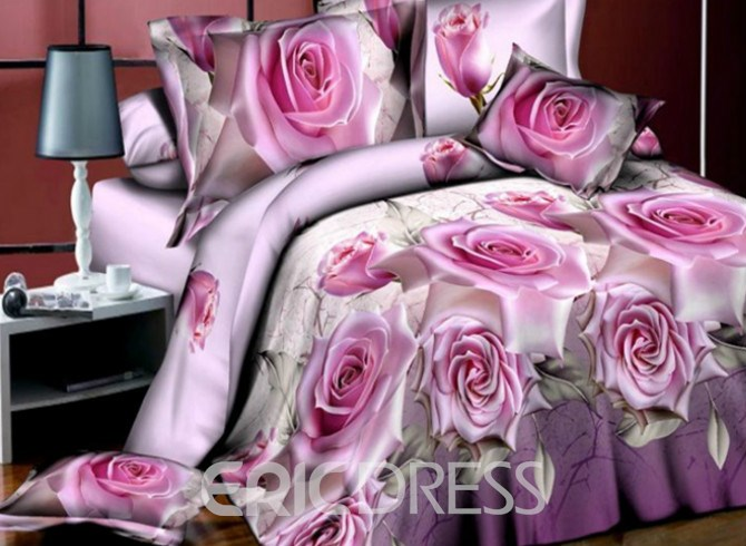 Vivilinen Noble Pink Rose 3D Printed 4-Piece Polyester Duvet Cover