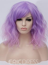Ericdress Purple And Pink Medium Loose Wave Synthetic Hair With Bangs Capless Wigs 14 Inches