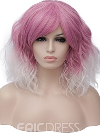 Ericdress Pink And White Synthetic Hair With Bangs Loose Wave Medium Capless 14 Inches