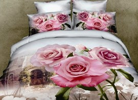 Vivilinen New Arrival Romantic Pink Roses Print 4 Piece Bedding Sets