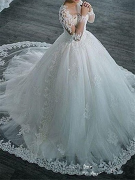 Ericdress Ball Gown Long Sleeves Tulle Appliques Beaded Wedding Dress
